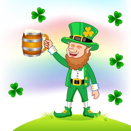 illustration of Leprechaun with beer mug wishing saint patrick's day Stock Vector - 8920593