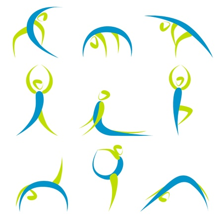 postures: illustration of icons showing different yoga poses on isolated background Illustration