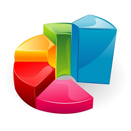 upward graph: illustration of glossy bar graph on isolated background