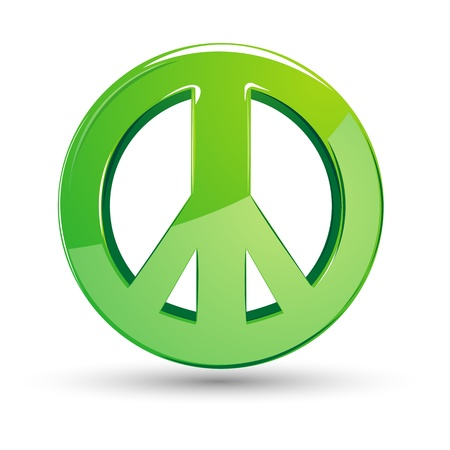 conceptual symbol: illustration of peace sign on isolated white background