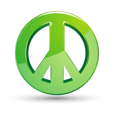 symbol peace: Ilustraci�n de signo de paz sobre fondo blanco aislado