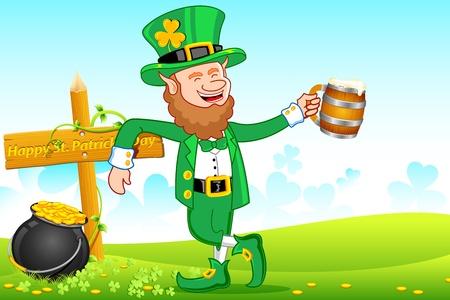 illustration of Leprechaun with beer mug wishing saint patrick's day Stock Illustration - 8920711