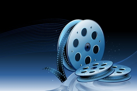movie projector: illustration of rolling film reel on abstract background
