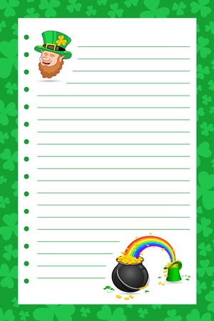 illustration of Saint Patricks hat and pot filled with gold coins on letter illustration