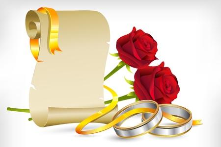 verlobung: Abbildung der paar Verlobungsringe mit Rosen auf abstrakten Hintergrund und Scroll Brief