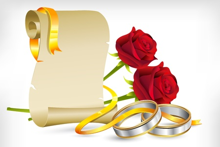 silver ring: illustration of pair of engagement rings with scroll letter and roses on abstract background