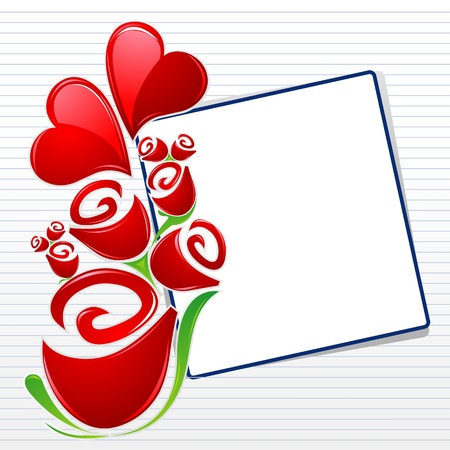 truelove: illustration of valentine card with hearts and roses on abstract background