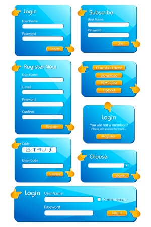 set form: illustration of set of web form templates on isolated background