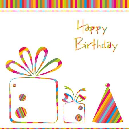 invito compleanno: illustrazione della carta di compleanno con regalo palloncini e torta su sfondo astratta