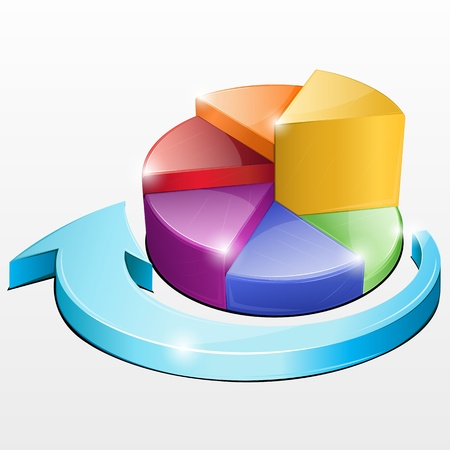 financial report: illustration of pie chart on isolated background