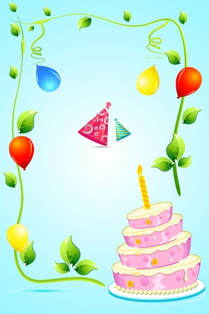 illustration of birthday party elements on isolated background Vector