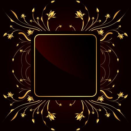 illustration of elegant golden frame on black background illustration