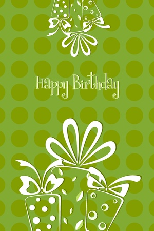 illustration of birthday card with gift balloons and cake on abstract background Stock Illustration - 8991819