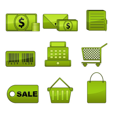 illustration of set of shopping icon for web on isolated background Stock Vector - 8977153