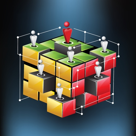 linking together: illustration of human connecting with each other showing networking