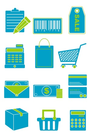illustration of set of shopping icon for web on isolated background Vector