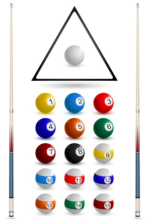 billiards tables: illustration of set on snooker ball on white background Illustration