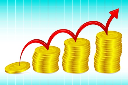 illustration of bar graph made of gold coins Stock Illustration - 8991825