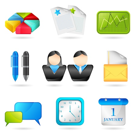 illustration of set of business icon for web on white background Stock Illustration - 8991817
