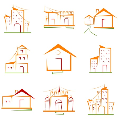 residential structures: illustration of set of architectural building on isolated white background Illustration
