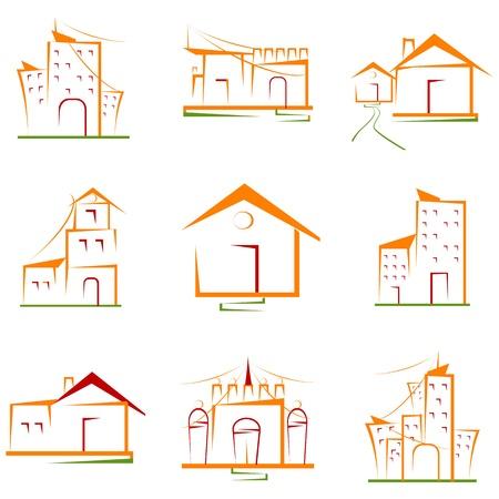 housing project: Ilustraci�n del conjunto de obra arquitect�nica sobre fondo blanco aislado