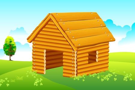 illustration of wooden home in natural landscape Stock Vector - 8977285