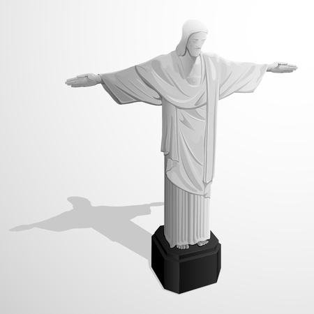 janeiro: illustration of statue of Cristo Redentor on abstract background
