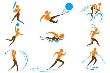 illustration of set on sports icon on white background Vector