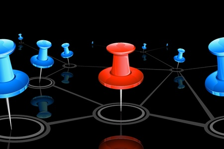 linking together: illustration of push pin connected with each other showing networking