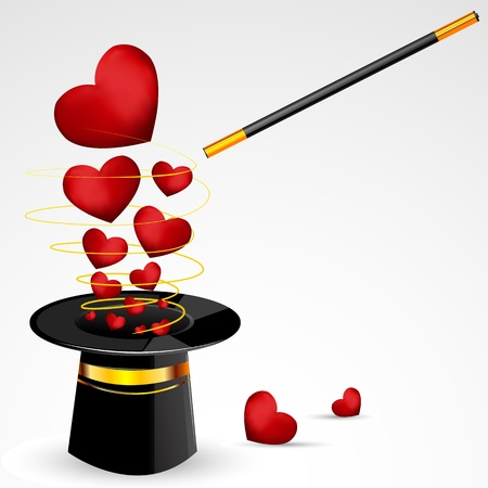 trick: illustration of hearts coming out of magical hat with magical wand