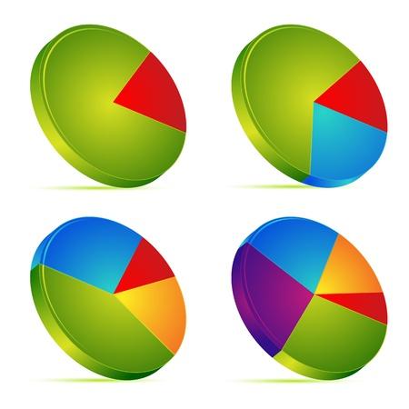 grafico vendite: illustrazione di insieme di differente grafico a torta su sfondo isolato Vettoriali