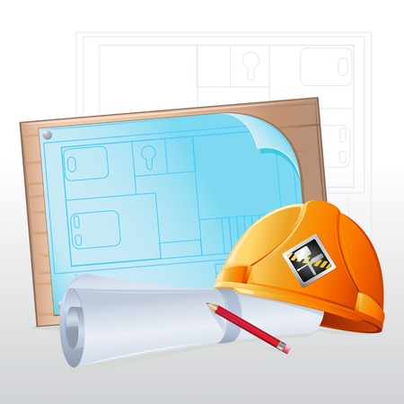 illustration of hard hat with blue print and pencil Stock Vector - 8977279