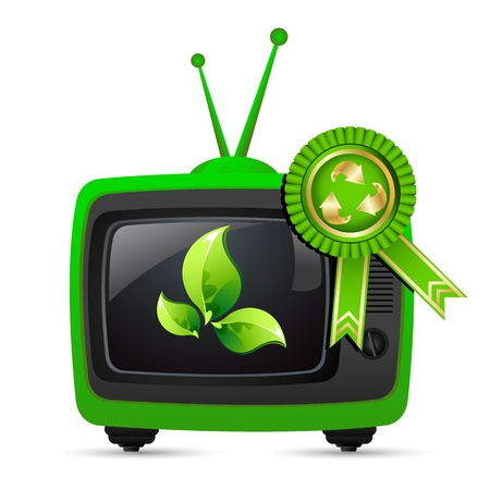 show plant: illustration of television showing leaf with recycle badge on white isolated background Illustration