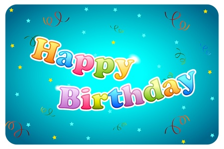 illustration of happy birthday card with text and flying confetti Stock Vector - 8977275