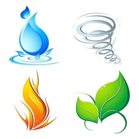Ilustración de cuatro elementos de la tierra - aire, fuego, agua y naturaleza