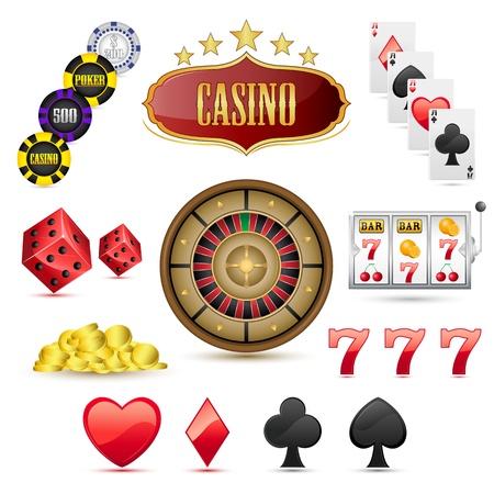 slot machine: illustration of set of casino icons on isolated white background