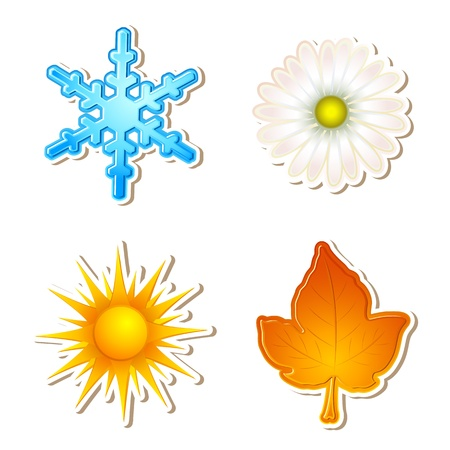 growth hot: illustration of snowflake,daisy,sun and maple leaf showing four season