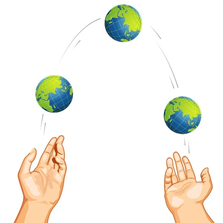 throwing ball: illustration of hand juggling with globe on white background
