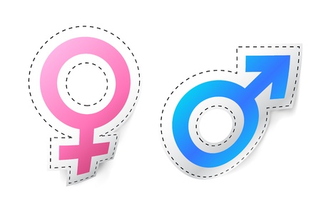 illustration of male female symbol sticker on isolated background Stock Vector - 8977292