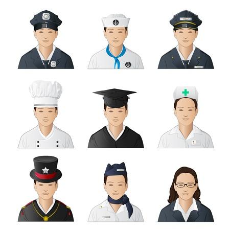 diferentes profesiones: Ilustraci�n del conjunto de icono de mujer en profesiones diferentes sobre fondo aislado Vectores