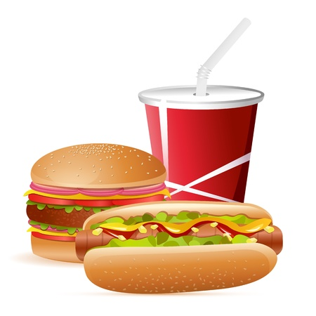 fastfood: illustration of burger,hot dog and cold drink on isolated background