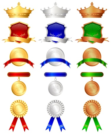 illustration of set of gold,silver nad bronze medal on isolated background Vector