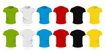 unisex: illustration of set of colorful front and back view of male t-shirts Illustration