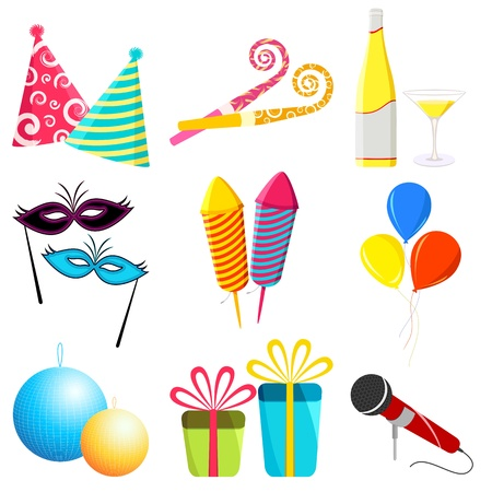 crackers: illustration of party elements on white background