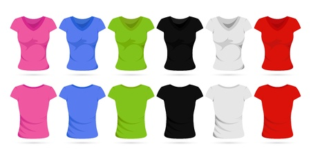 illustration of set of colorful front and back view of female t-shirts Stock Vector - 8977293