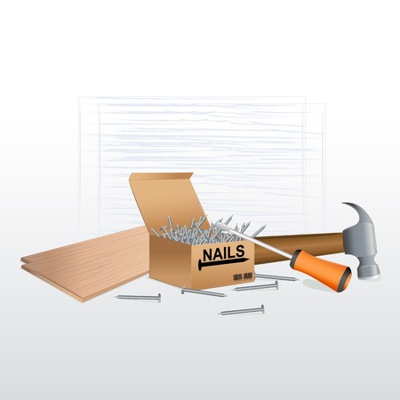 illustration of tool box with nails,screw driver and hammer Vector