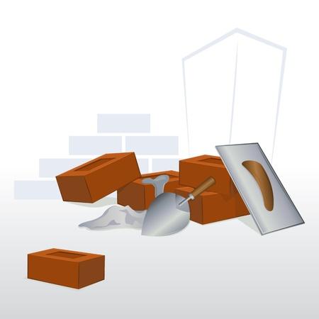 materiali edili: illustrazione di sotto il muro di mattoni costruito con strumenti Vettoriali