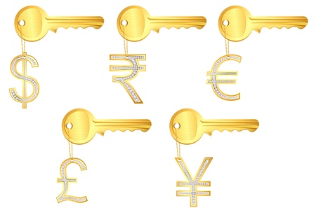 illustration of diamond currncy key rings on isolated background Stock Vector - 8977392