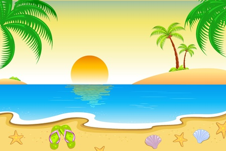 tranquil scene: illustration of natural sea beach view  with palm tree