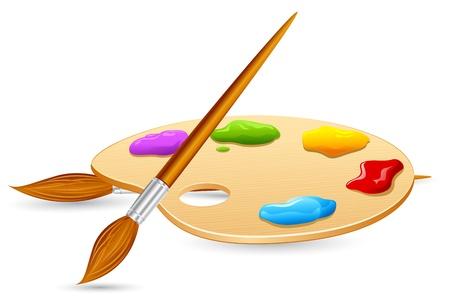 illustrazione del pennello di colore e colore Pallet su sfondo isolato